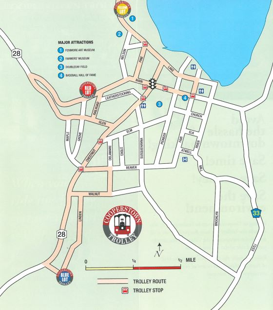 Map Of Cooperstown Ny Trolley System | The Village Of Cooperstown Map Of Cooperstown Ny